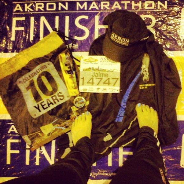"""Akron Marathon 2012 """"Blue line, blue toes"""""""