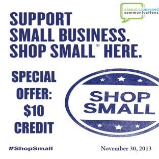 Take $10 off new business this week at CCC. Support Small Business Saturday!