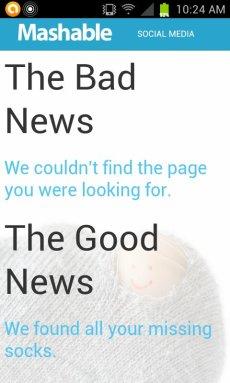 Mashable broken link message