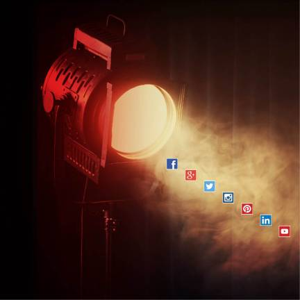 spotlight shining on the major social media network logos