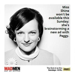 Sorry, CCC will be out of the office on Sunday evening -- watching Mad Men!