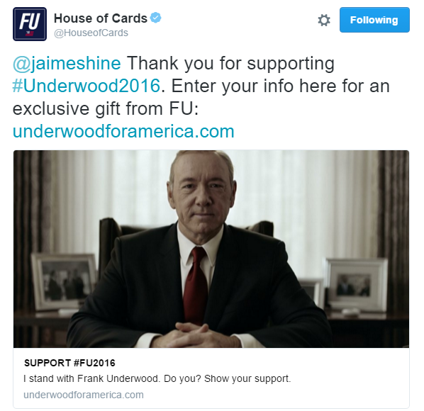 House of Cards' winning marketing campaign! #FU2016
