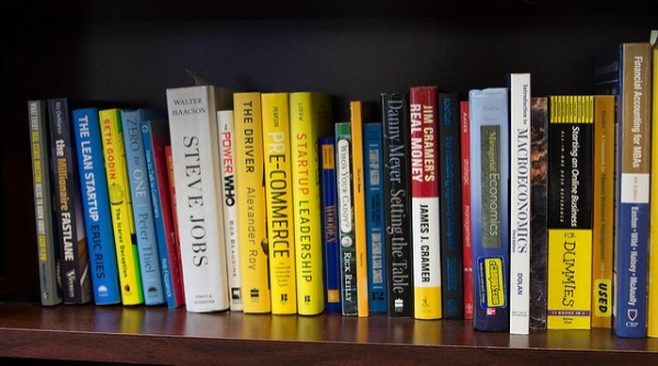 business books on a bookshelf