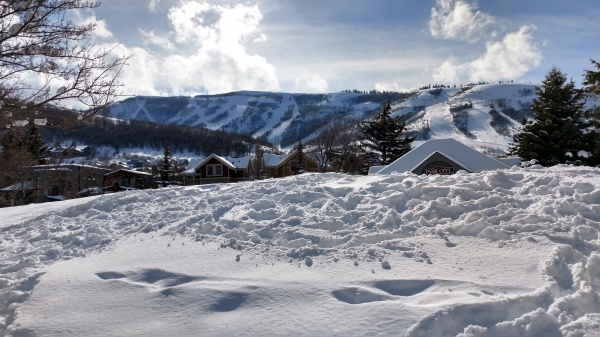 snow covered mountains in Park City, UT