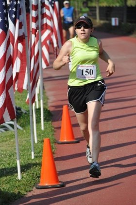 The author finishing a 5k