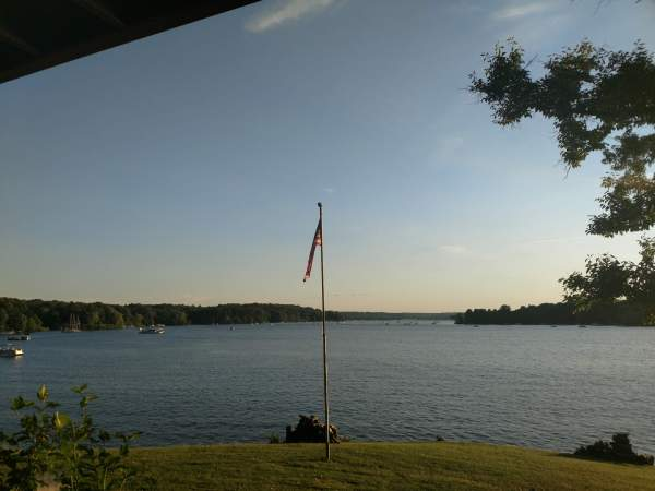 A lake view