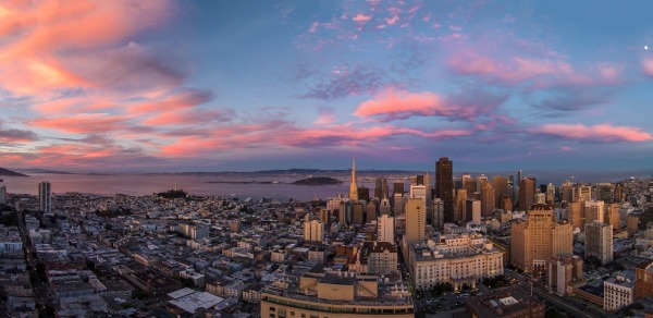 A San Francisco sunset captured by a drone